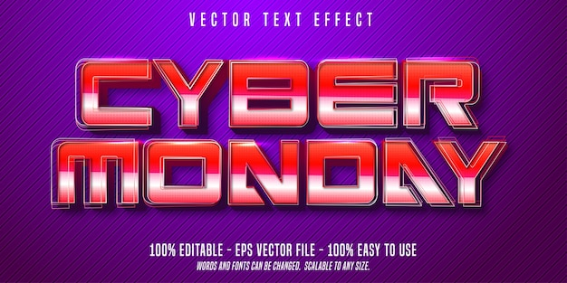 Cyber monday retro style editable text effect