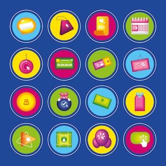 Cyber monday round icons