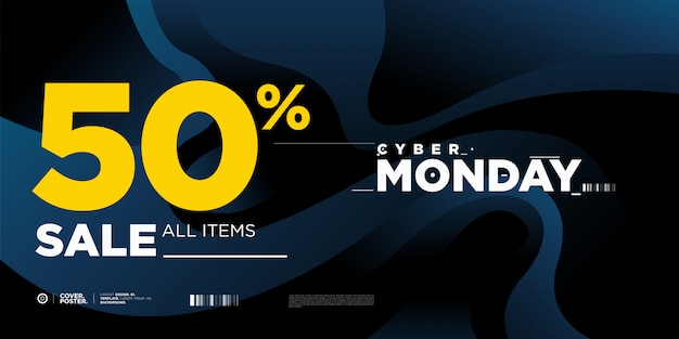 Cyber monday sale 50% banner template