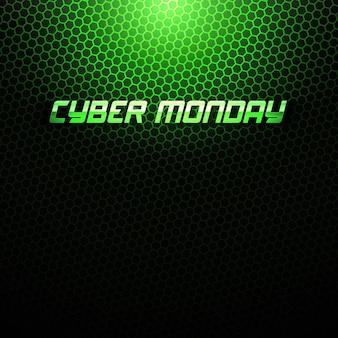 사이버 월요일 판매 추상적 인 기술 녹색 배경