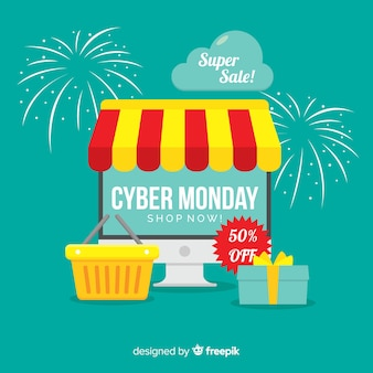 Cyber monday sale background with electronic devices