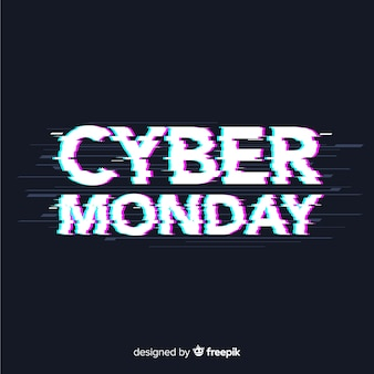 Cyber monday sale background with glitch effect