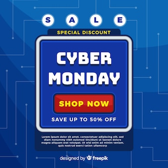 Cyber monday sale background with video game style