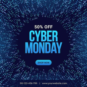 Cyber monday sale banner design template, social media network marketing promotion concept