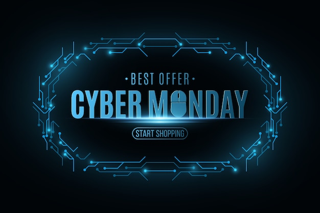 Cyber monday sale banner. electronic circuit board frame.