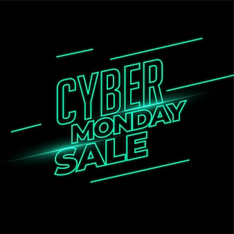 Cyber monday sale banner in neon light style