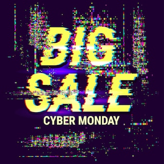 Cyber monday sale banner. offer illustration with glitch effect