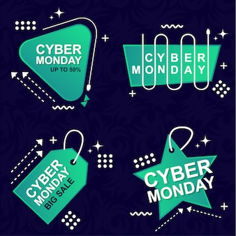 Cyber monday sale banner set elements premium vector pack