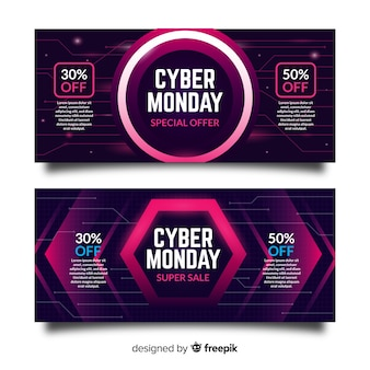 Cyber monday sale banner set neon style