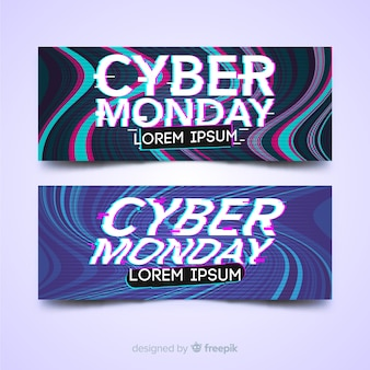 Cyber monday sale banner set with glitch effect