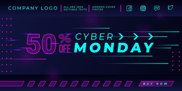 Cyber monday sale banner template with glowing pink dots