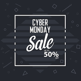 Cyber monday sale banner vector background template