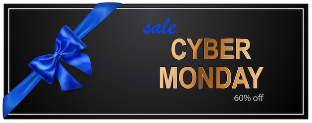Cyber monday sale banner with blie bow and ribbons on black background. vector illustration for posters, flyers or cards.