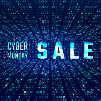 Cyber monday sale banner with glitch effect on binary code background.