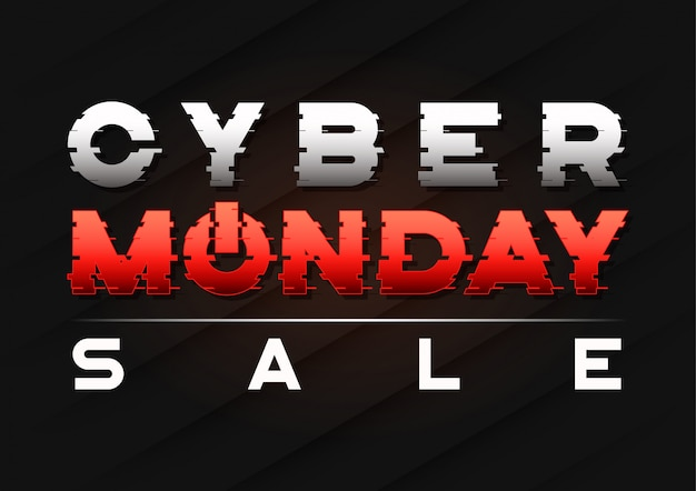Cyber monday sale banner  with a glitch sled text.