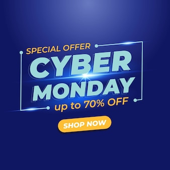 Cyber monday sale banner with light effect