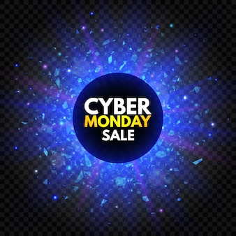 Cyber monday sale banner with sparkle star and explosion light. blue and violet glowing signboard, nightly advertising.