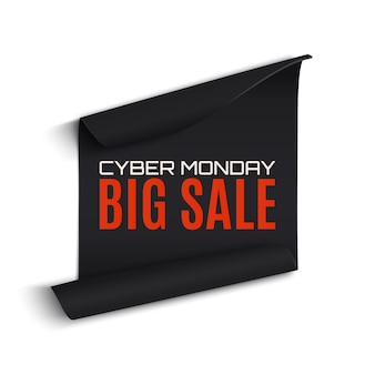 Cyber monday sale curved paper banner, isolated on white background.