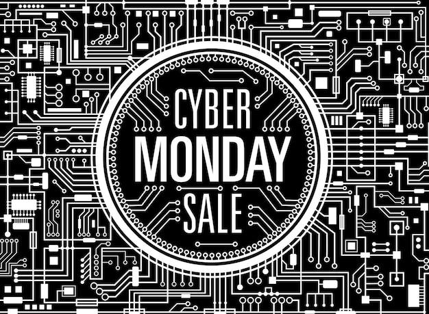 사이버 월요일 판매 디자인 템플릿입니다. 미래 기술 배경입니다. 검은 사이버먼데이 가로 배너입니다. 벡터 일러스트 레이 션.