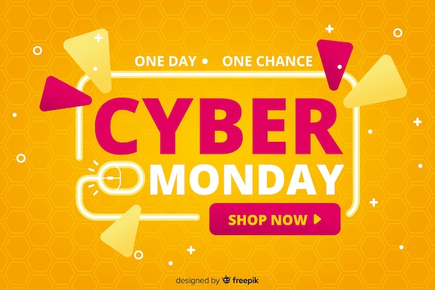 Cyber monday sale flat design banner