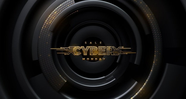 Cyber monday  sale futuristic golden label with circuit board texture on black radial background