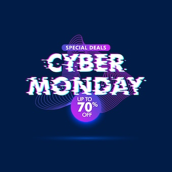 Cyber monday sale glitch effect background