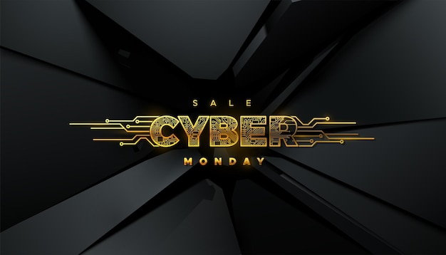 Cyber monday sale golden label with circuit board texture on black fractured background