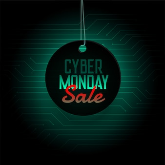 Cyber monday sale hanging tag design banner