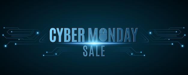 사이버 월요일 판매. 컴퓨터 회로 보드에서 하이테크 배경입니다.