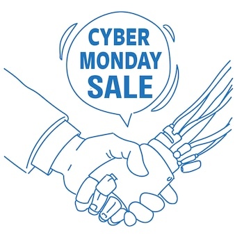 Cyber monday sale human robot hand shaking communication assistance chat bubble artificial intelligence sketch doodle