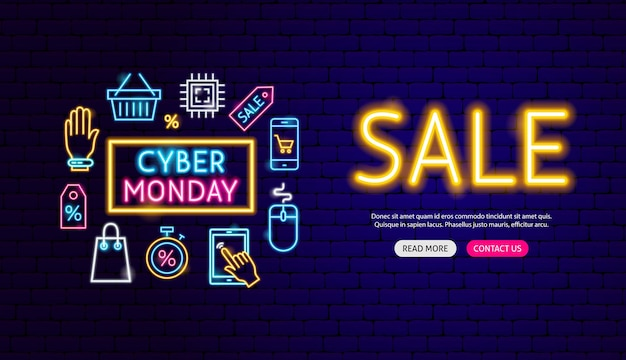 Cyber monday sale neon banner design. vector illustration of shopping promotion.