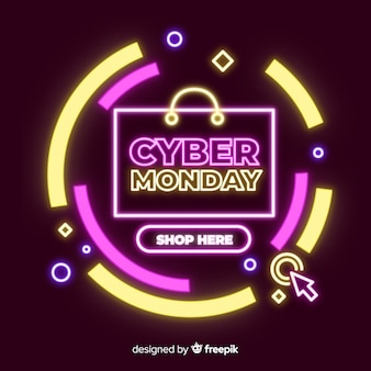 Cyber monday sale neon banner
