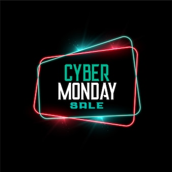 Cyber monday sale in neon frame style banner
