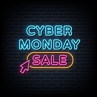 Cyber monday sale neon sign, light banner, announcement neon signboard.