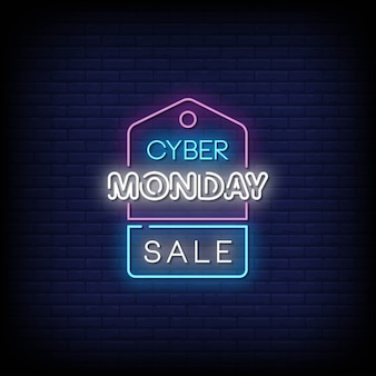 Cyber monday sale neon signs style text