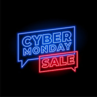 Cyber monday sale in neon style banner design