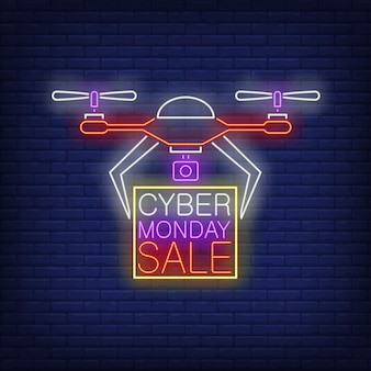 Cyber monday sale neon text in frame being carried by drone