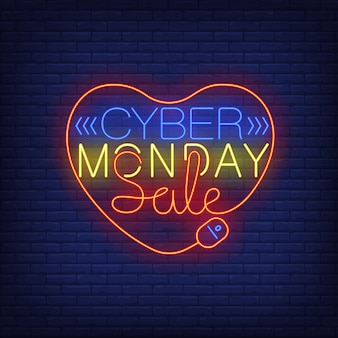 Cyber monday sale neon text in heart