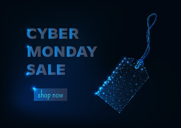 Cyber monday sale online shopping banner template