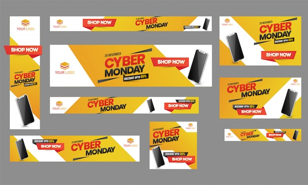 Cyber monday sale poster, banner and template set with 65% disco