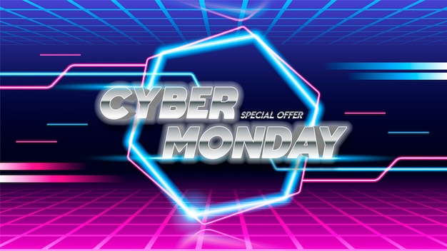 Cyber monday sale poster design on blue and pink background.
