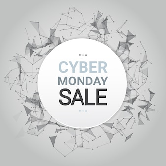 Cyber monday sale poster design over futuristic lines background technology shopping icon