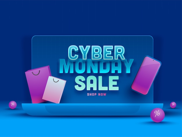 Cyber monday sale poster design with laptop
