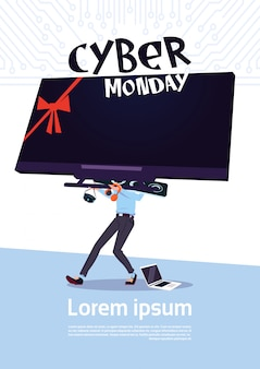 Cyber monday sale poster with man holding big tv plasma over white background, template banner