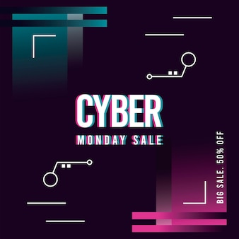 Cyber monday sale poster with pink and blue illustration design