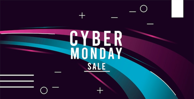 Cyber monday sale poster with trails colors blue and pink illustration design