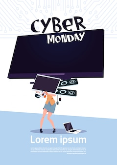 Cyber monday sale poster with woman holding big tv plasma over white background, template banner