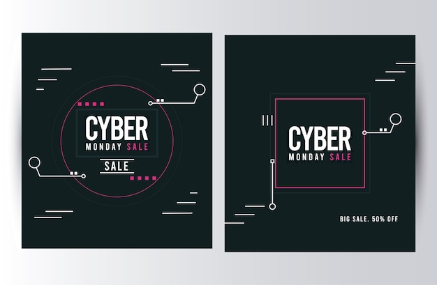 Cyber monday sale posters with square frames illustration design