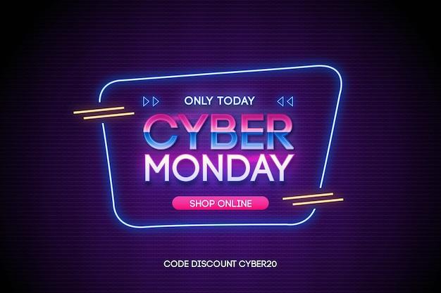 Cyber monday sale promo in retro futuristic style