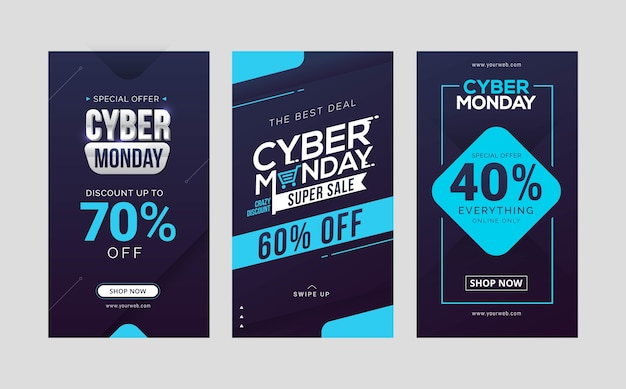 Cyber monday sale social media stories template design collection